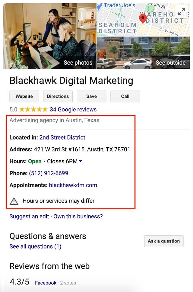 Blackhawk   listing information   Austin Digital Marketing Agency