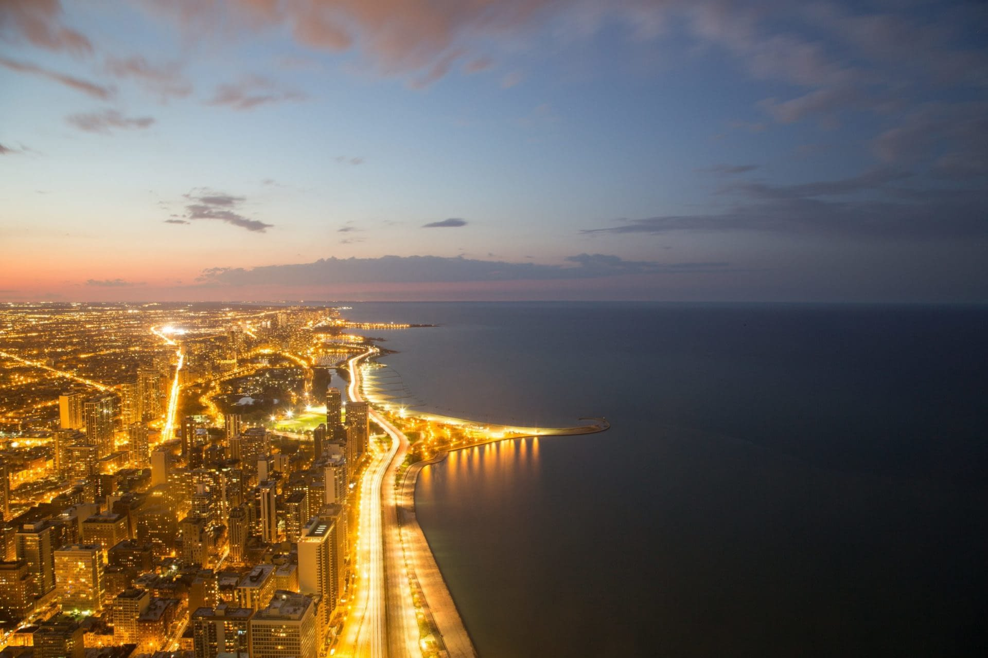 North-facing Chicago skyline and shoreline on Lake Michigan at dusk