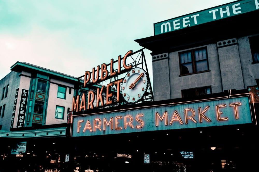 Public market farmers market neon sign in Seattle