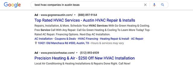 google results for best hvac service