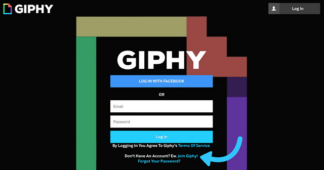 Landing page of giphy.com