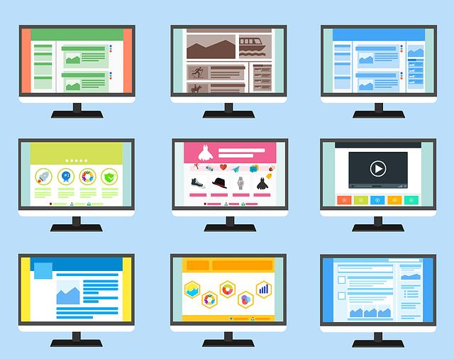 website designs on screen