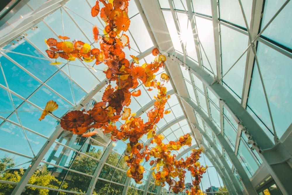 Chihuly glass floral sculpture in Seattle
