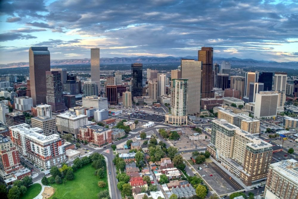 Aerial view of downtown Denver