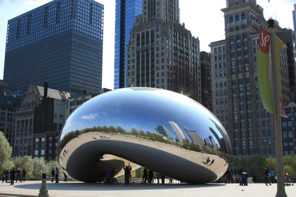 Cloud Gate colloquially called The Bean art installation in Millennium Park in Chicago