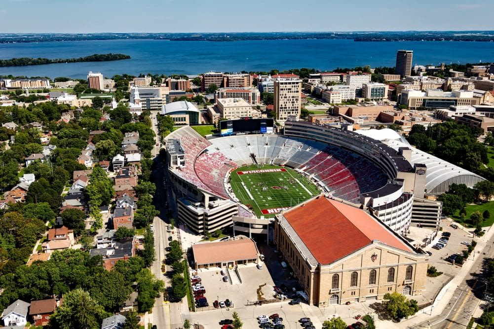 an aerial view of the UW Madison football stadium