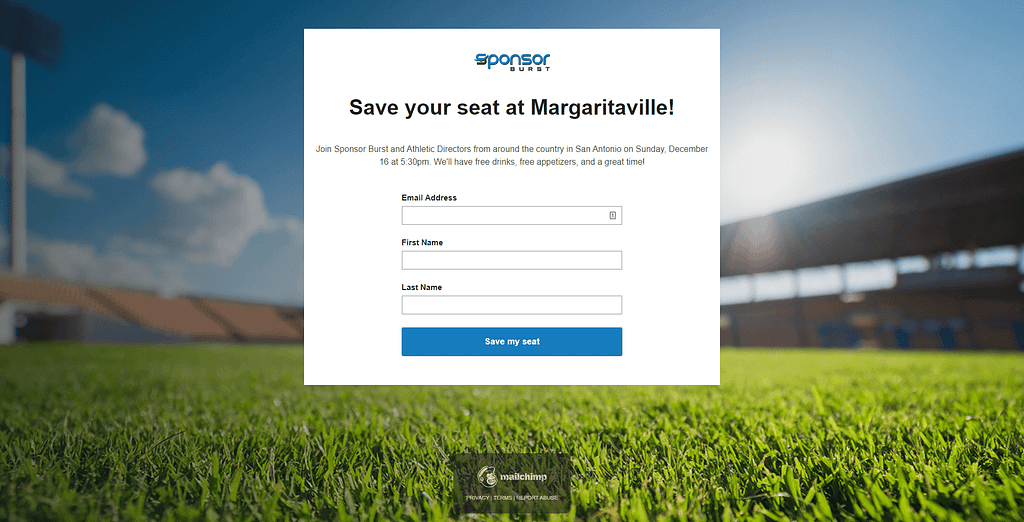 Blackhawk   Sponsorburst Landing Page Margaritaville Event   Austin Digital Marketing Agency