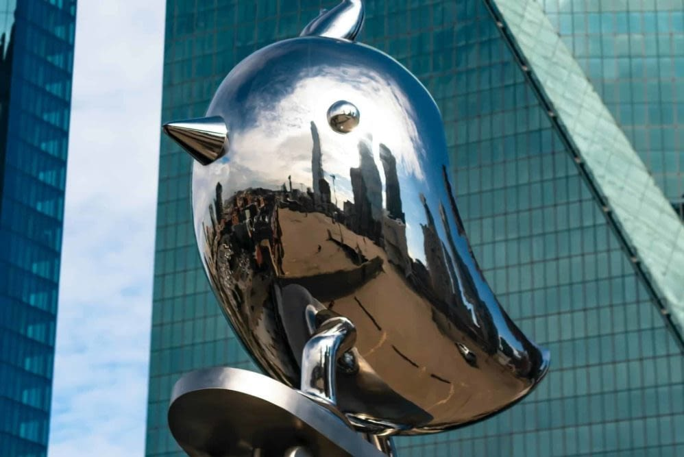 metal bird sculpture in downtown Dallas