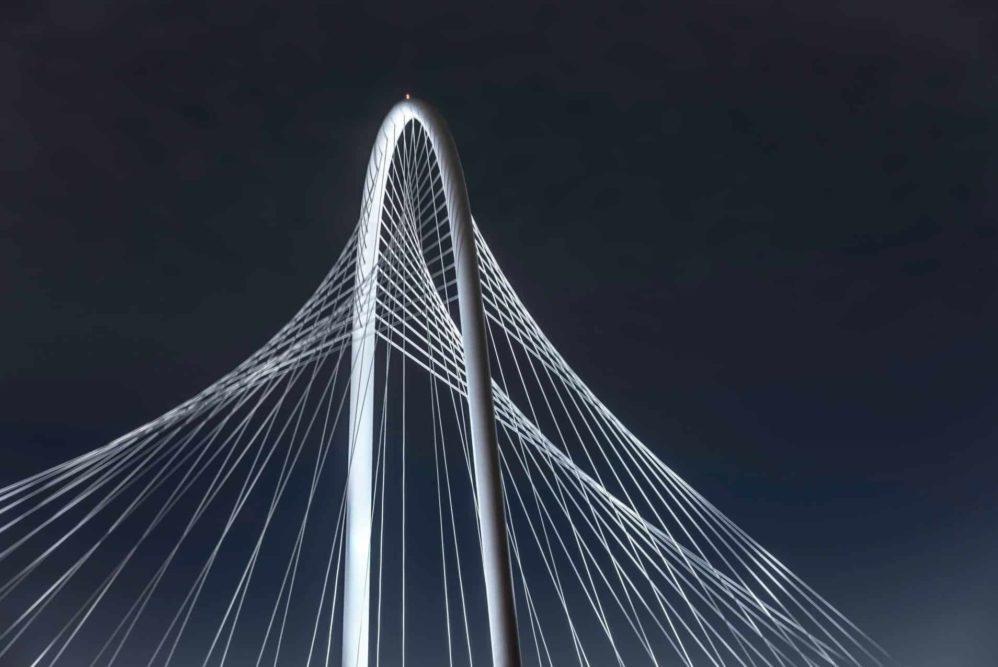 The top pf Margaret Hunt Hill bridge in Dallas, TX